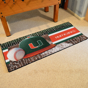 "30"" x 72"" University of Miami Baseball Style Rectangle Runner Mat"