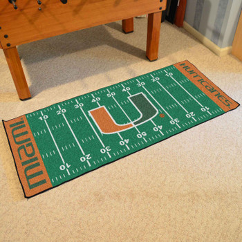 "30"" x 72"" University of Miami Football Field Rectangle Runner Mat"