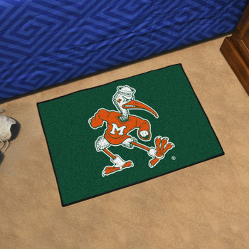 "19"" x 30"" University of Miami Black Rectangle Starter Mat"