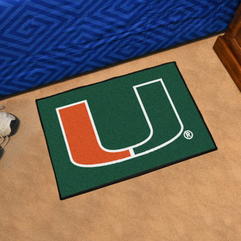 "19"" x 30"" University of Miami Green Rectangle Starter Mat"