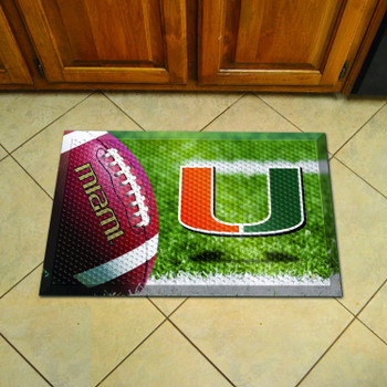 "19"" x 30"" University of Miami Rectangle Scraper Mat - ""U"" Logo"