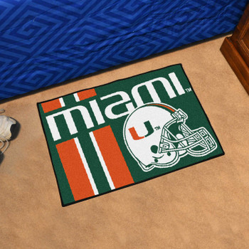 "19"" x 30"" University of Miami Uniform Green Rectangle Starter Mat"