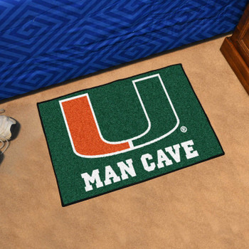 "19"" x 30"" University of Miami Man Cave Starter Green Rectangle Mat"