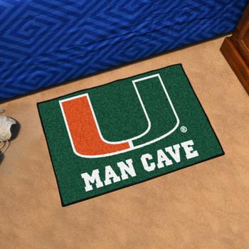 "19"" x 30"" University of Miami Man Cave Starter Green Rectangle Mat"
