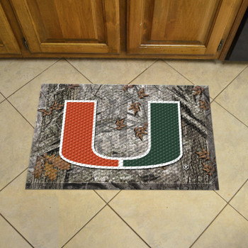 "19"" x 30"" University of Miami Rectangle Camo Scraper Mat - ""U"" Logo"