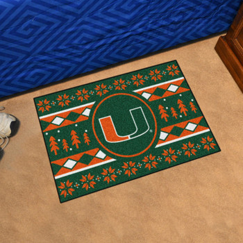 "19"" x 30"" University of Miami Holiday Sweater Green Rectangle Starter Mat"
