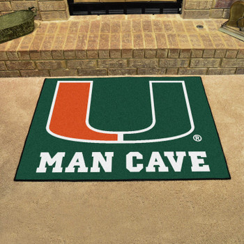 "33.75"" x 42.5"" University of Miami Man Cave All-Star Green Rectangle Mat"