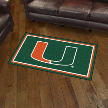 3' x 5' University of Miami Green Rectangle Rug
