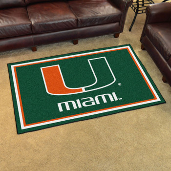 4' x 6' University of Miami Green Rectangle Rug