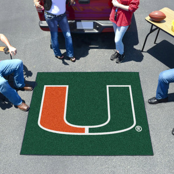 "59.5"" x 71"" University of Miami Green Tailgater Mat"