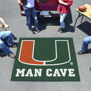 "59.5"" x 71"" University of Miami Man Cave Tailgater Green Rectangle Mat"