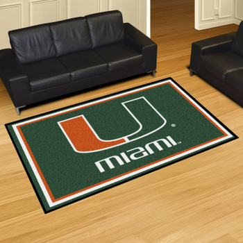 5' x 8' University of Miami Green Rectangle Rug