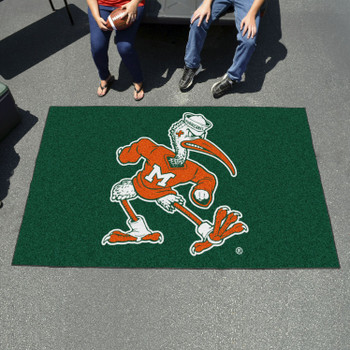 "59.5"" x 94.5"" University of Miami Black Rectangle Ulti Mat"