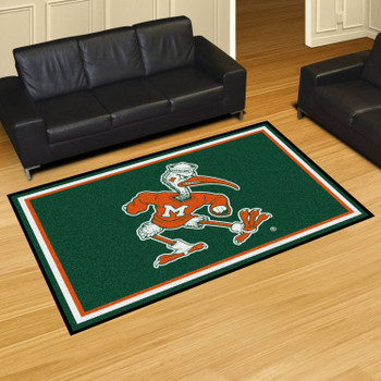5' x 8' University of Miami Hurricanes Green Rectangle Rug