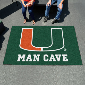 "59.5"" x 94.5"" University of Miami Man Cave Green Rectangle Ulti Mat"