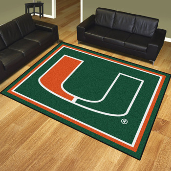 8' x 10' University of Miami Green Rectangle Rug