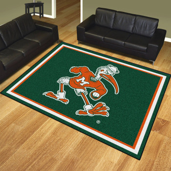 8' x 10' University of Miami Hurricanes Green Rectangle Rug