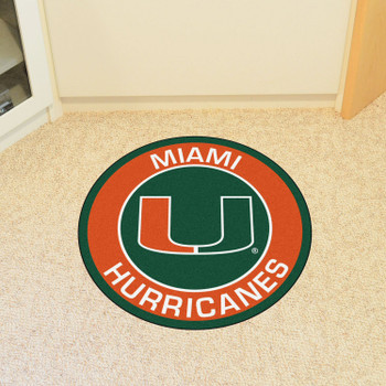 "27"" University of Miami Roundel Round Mat"