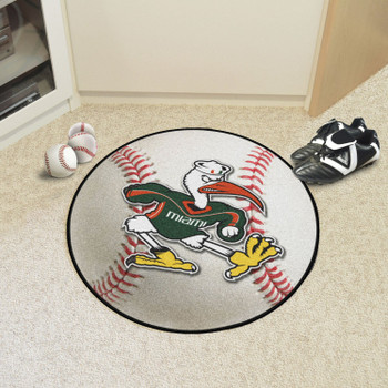 "27"" University of Miami Baseball Style Round Mat"