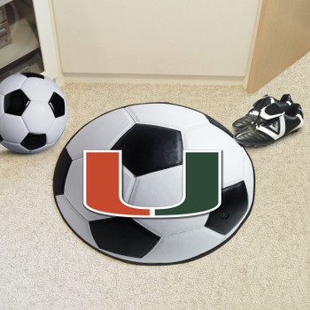 "27"" University of Miami Hurricanes Soccer Ball Round Mat"