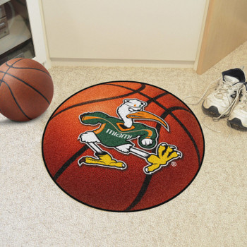 "27"" University of Miami Orange Basketball Style Round Mat"