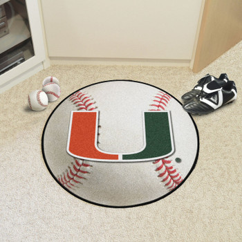 "27"" University of Miami Hurricanes Baseball Style Round Mat"