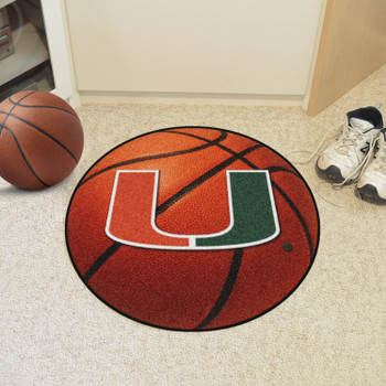 "27"" University of Miami Hurricanes Orange Basketball Style Round Mat"