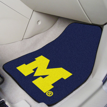 University of Michigan Blue Carpet Car Mat, Set of 2