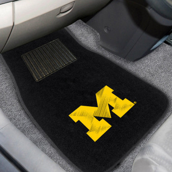 University of Michigan Embroidered Black Car Mat, Set of 2
