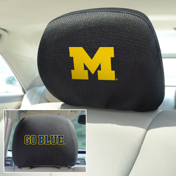 University of Michigan Car Headrest Cover, Set of 2