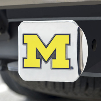 University of Michigan Color Hitch Cover - Chrome