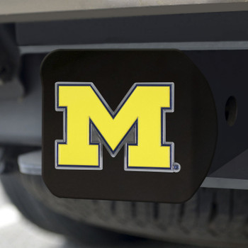 University of Michigan Hitch Cover - Color on Black