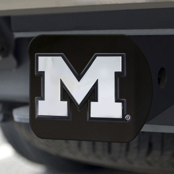 University of Michigan Hitch Cover - Chrome on Black