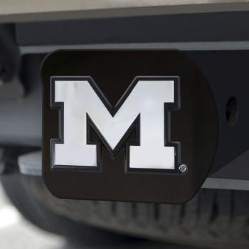 University of Michigan Hitch Cover - Chrome on Black