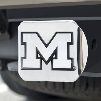 University of Michigan Hitch Cover - Chrome on Chrome