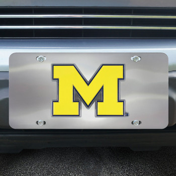 University of Michigan Diecast Stainless Steel License Plate