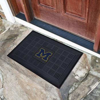 "19.5"" x 31.25"" University of Michigan Medallion Rectangle Door Mat"