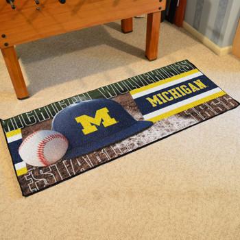 "30"" x 72"" Michigan Baseball Style Rectangle Runner Mat"