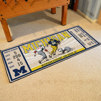 "30"" x 72"" University of Michigan Ticket Rectangle Runner Mat"