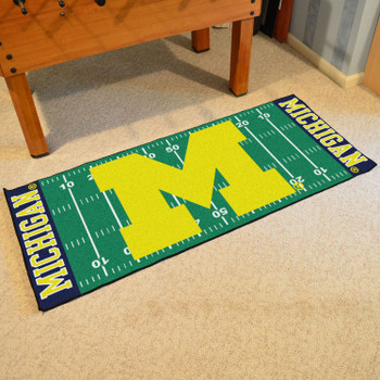 "30"" x 72"" University of Michigan Football Field Rectangle Runner Mat"