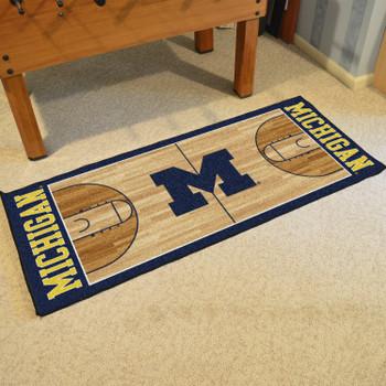"30"" x 72"" University of Michigan NCAA Basketball Rectangle Runner Mat"