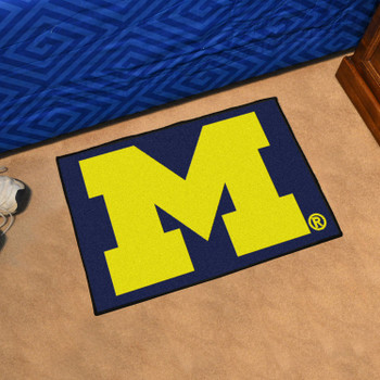 "19"" x 30"" University of Michigan Blue Rectangle Starter Mat"