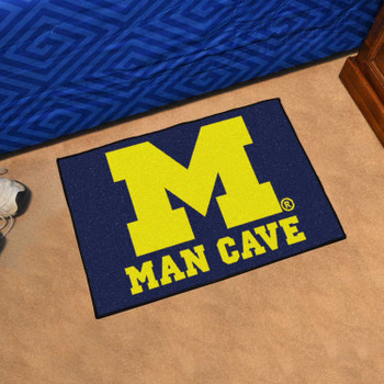 "19"" x 30"" University of Michigan Man Cave Starter Blue Rectangle Mat"