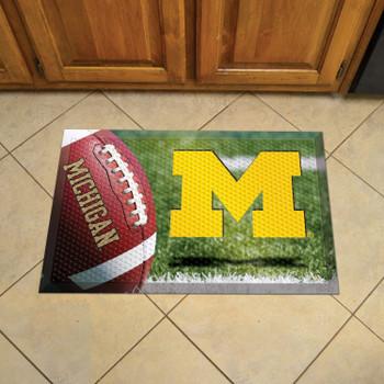 "19"" x 30"" University of Michigan Rectangle Scraper Mat - ""Block M"" Logo"