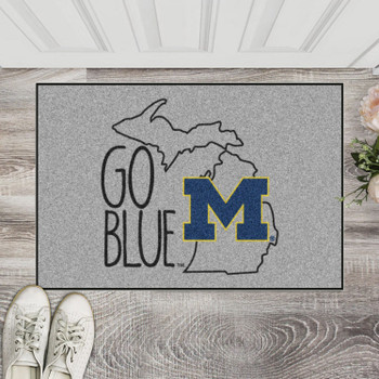 "19"" x 30"" University of Michigan Southern Style Gray Rectangle Starter Mat"