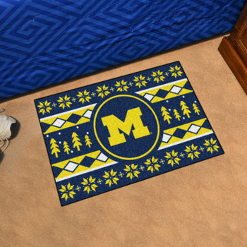 "19"" x 30"" University of Michigan Holiday Sweater Navy Blue Rectangle Starter Mat"