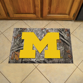 "19"" x 30"" University of Michigan Rectangle Camo Scraper Mat - ""Block M"" Logo"