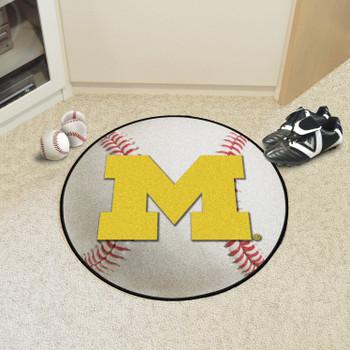 """27"""" University of Michigan Baseball Style Round Mat"""