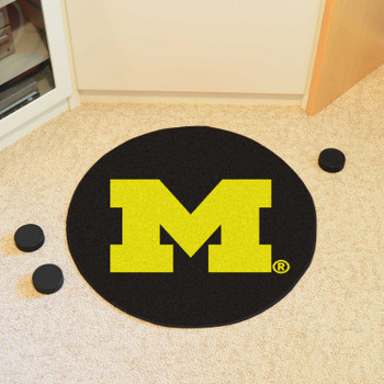 "27"" University of Michigan Puck Round Mat - ""Block M"" Logo"