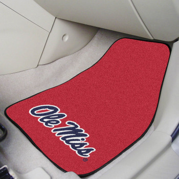 University of Mississippi (Ole Miss) Red Carpet Car Mat, Set of 2